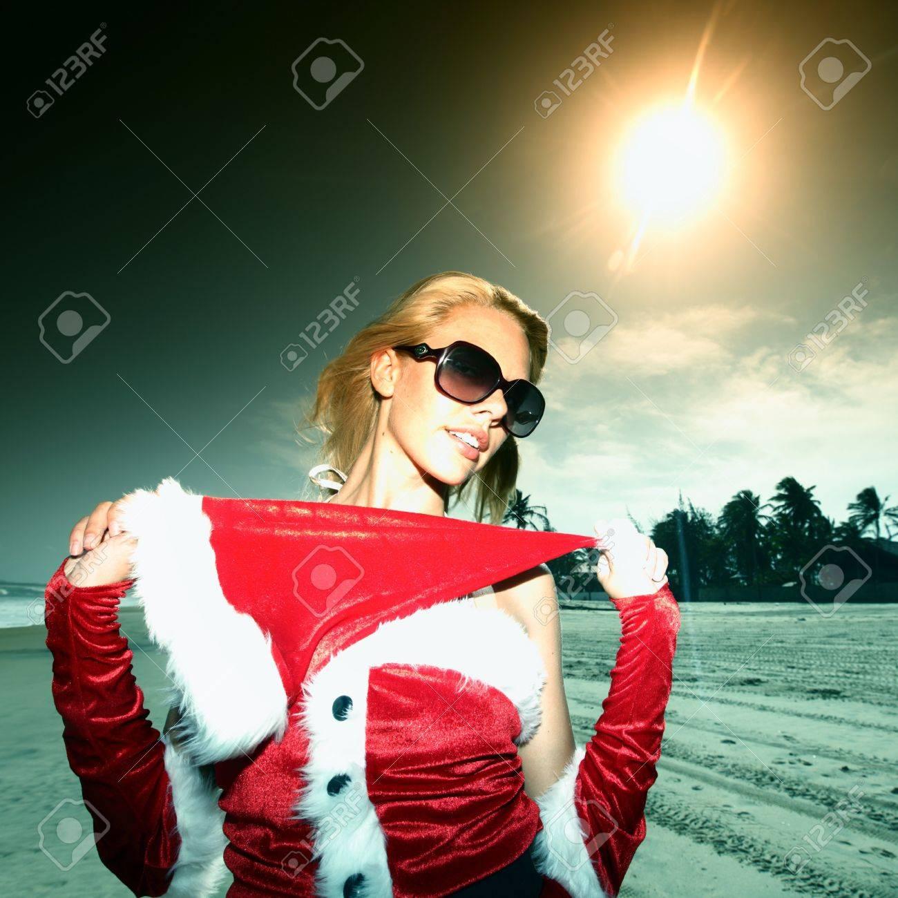 santa girl vocation on beach Stock Photo - 4324497