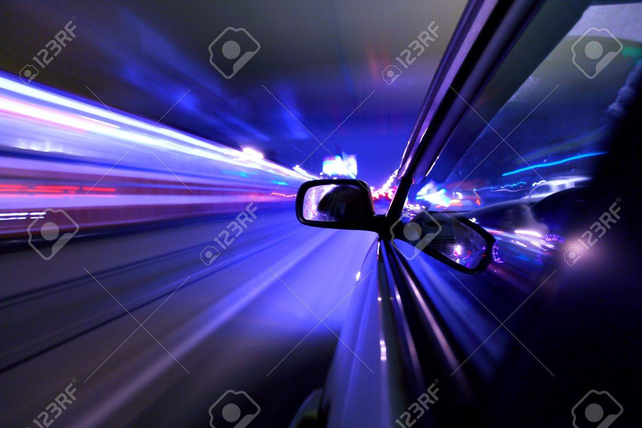 car fast drive on highway in night Stock Photo - 4324863