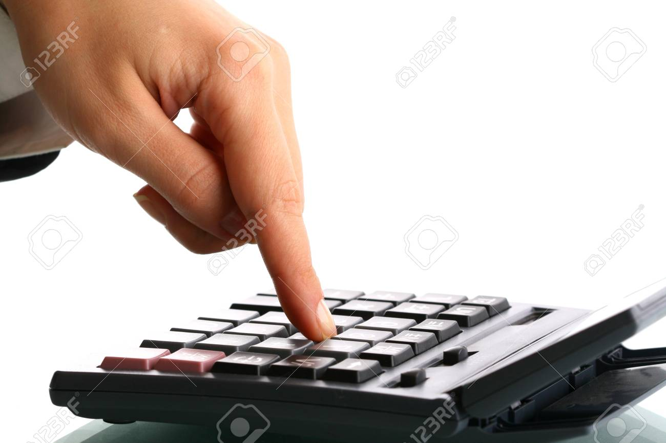 girl hand calculate on white background Stock Photo - 4378656