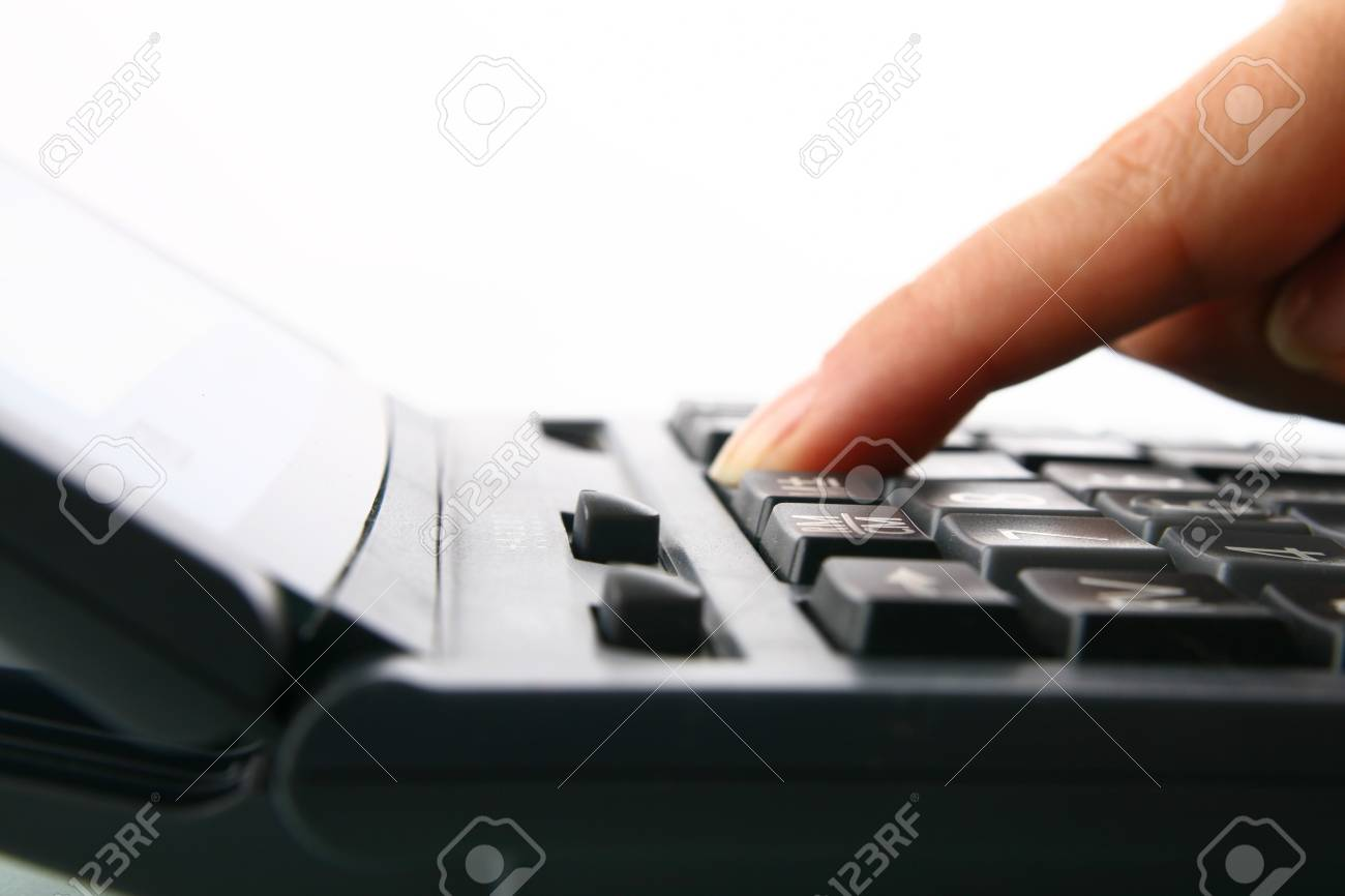 girl hand calculate on white background Stock Photo - 4392153