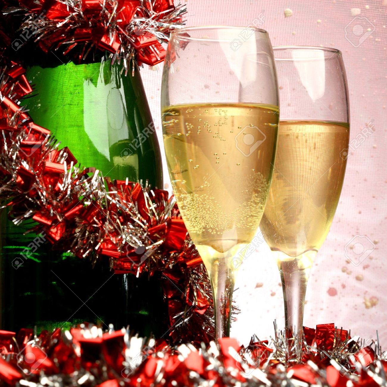 New Year's card with champagne decoration Stock Photo - 5956153
