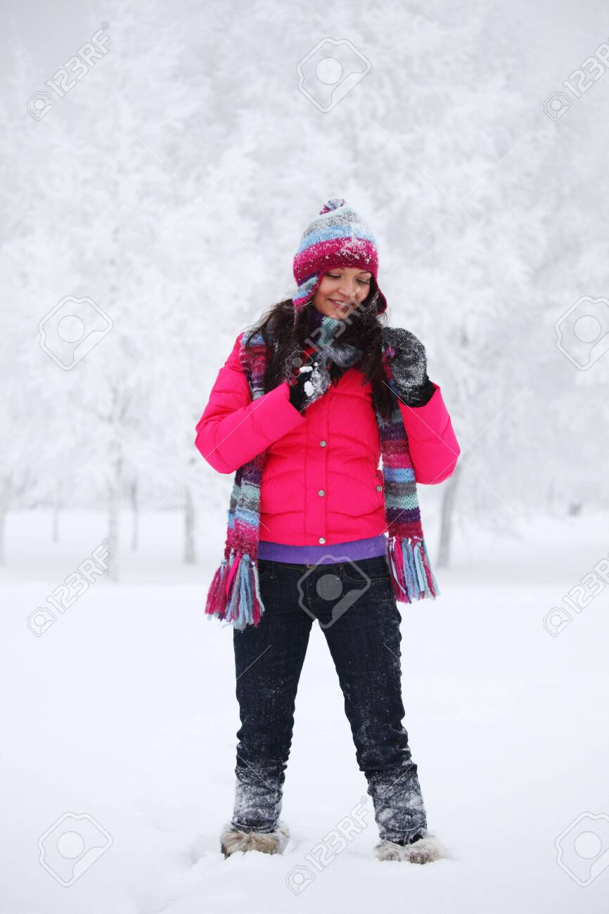 winter women close up portrait in frost forest Stock Photo - 6360506