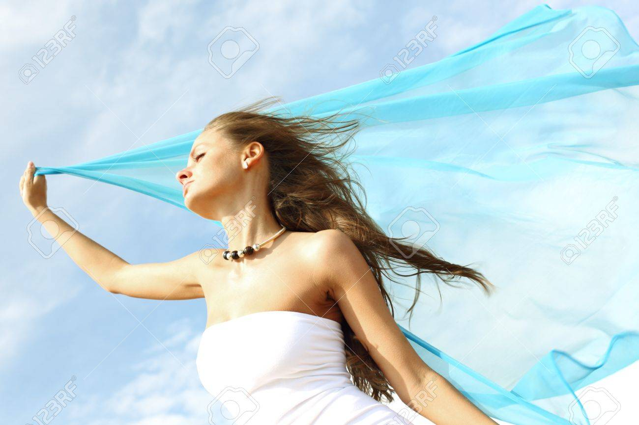 fly girl in the sky freedom concept Stock Photo - 8406988