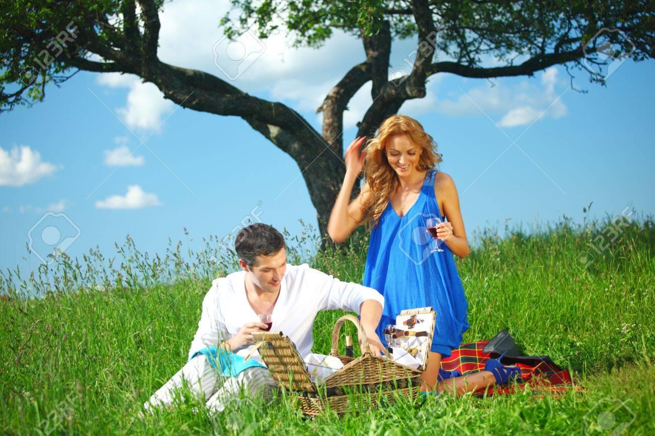 very fun lovers on picnic Stock Photo - 8414553
