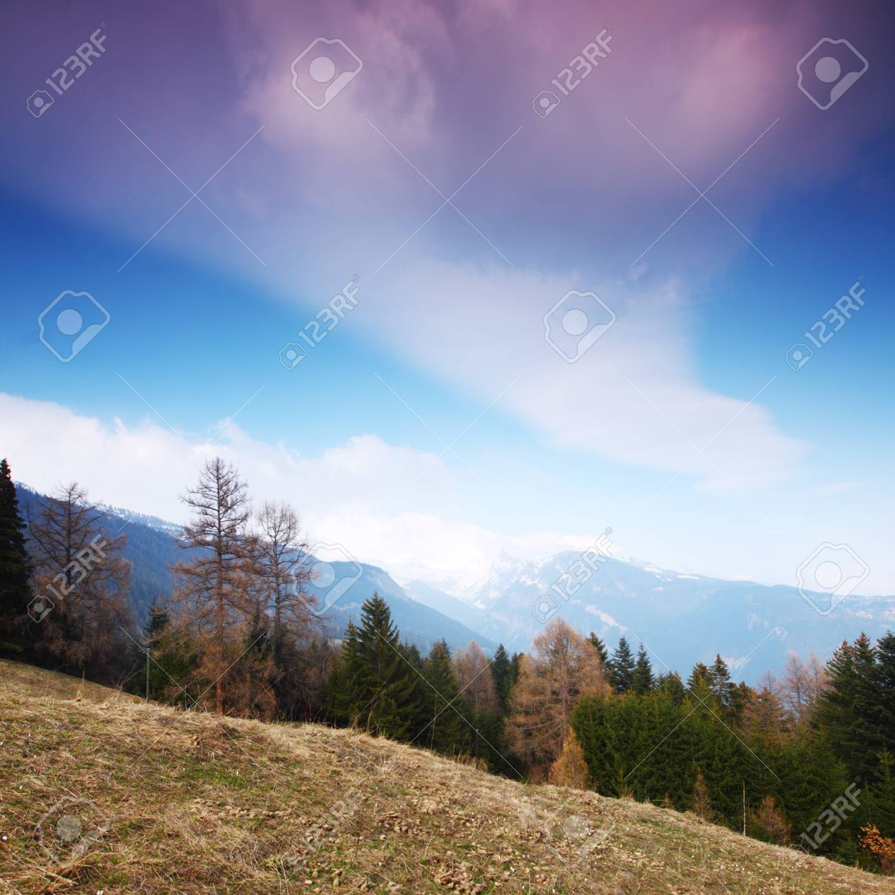spring alps mountains scene background Stock Photo - 8453980