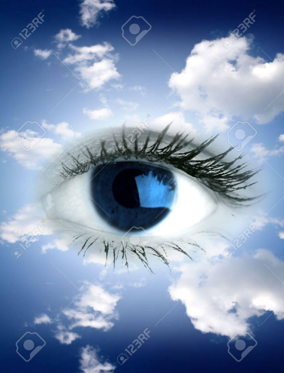 Beautiful big blue eye in sky Stock Photo - 8515329