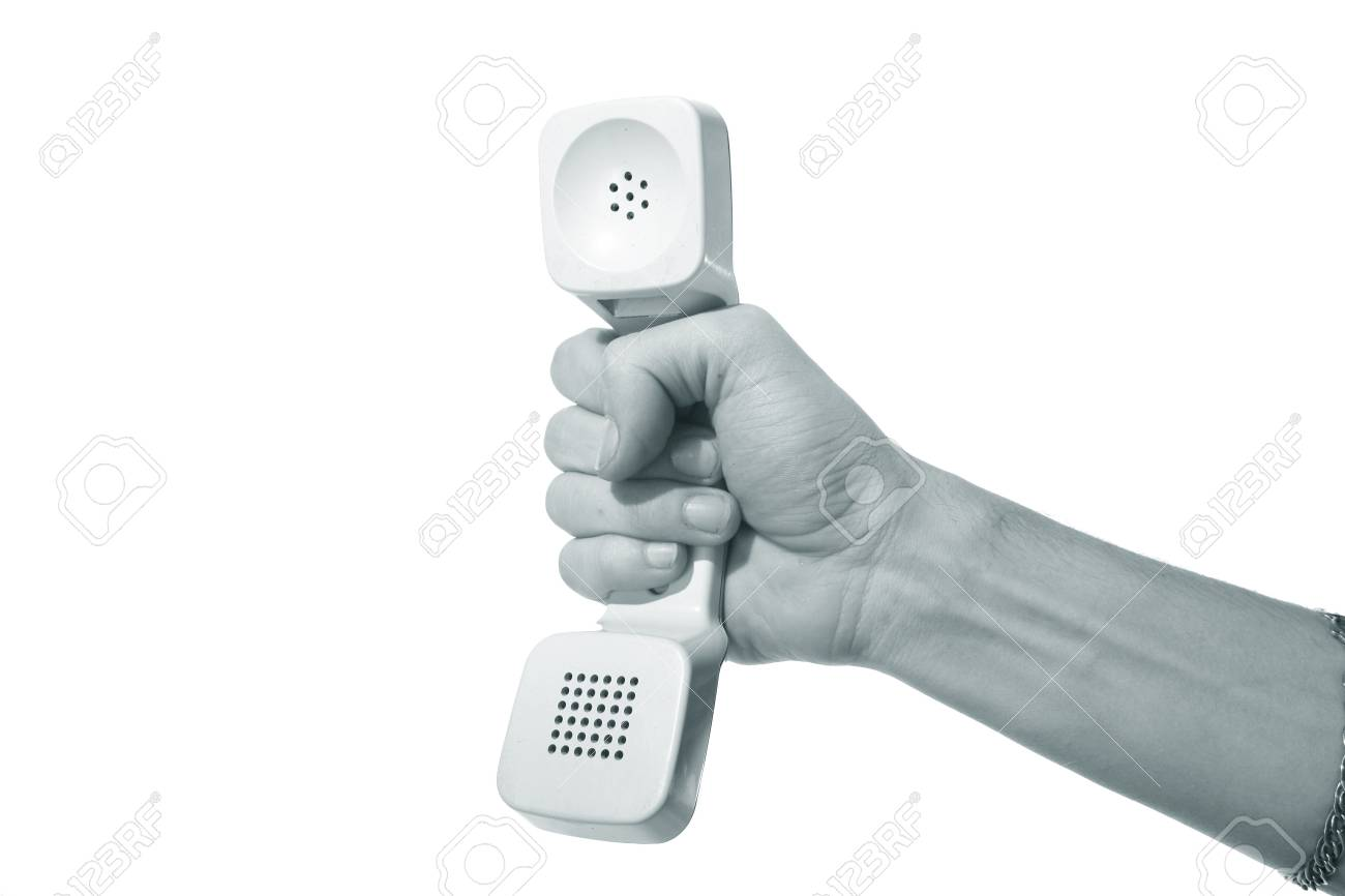 phone ring in human hand on white Stock Photo - 8515919