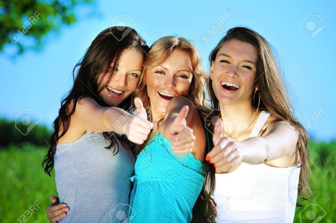 Success joy of girlfriends say hurray Stock Photo - 8680331