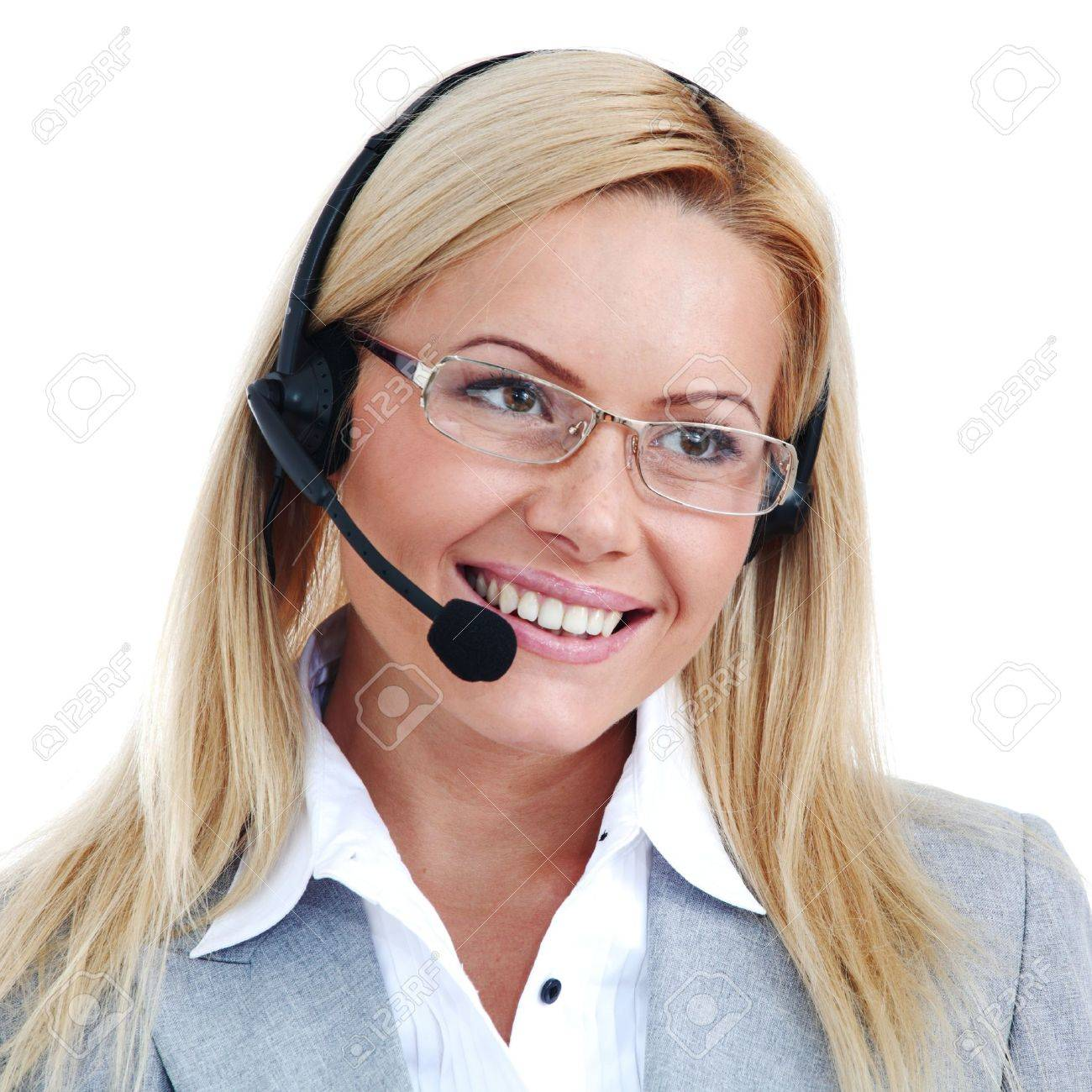 woman call with headset close portrait Stock Photo - 8744124