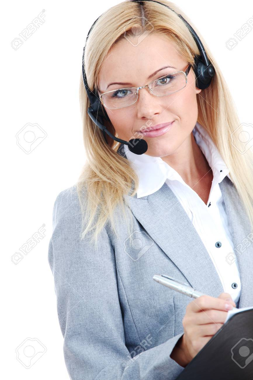 woman call with headset close portrait Stock Photo - 8744278