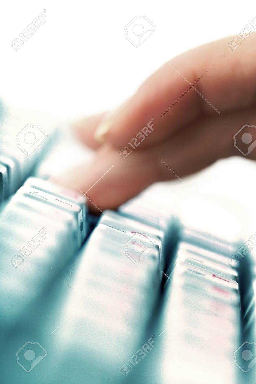 girl hands typing on keyboard macro close up Stock Photo - 8743957