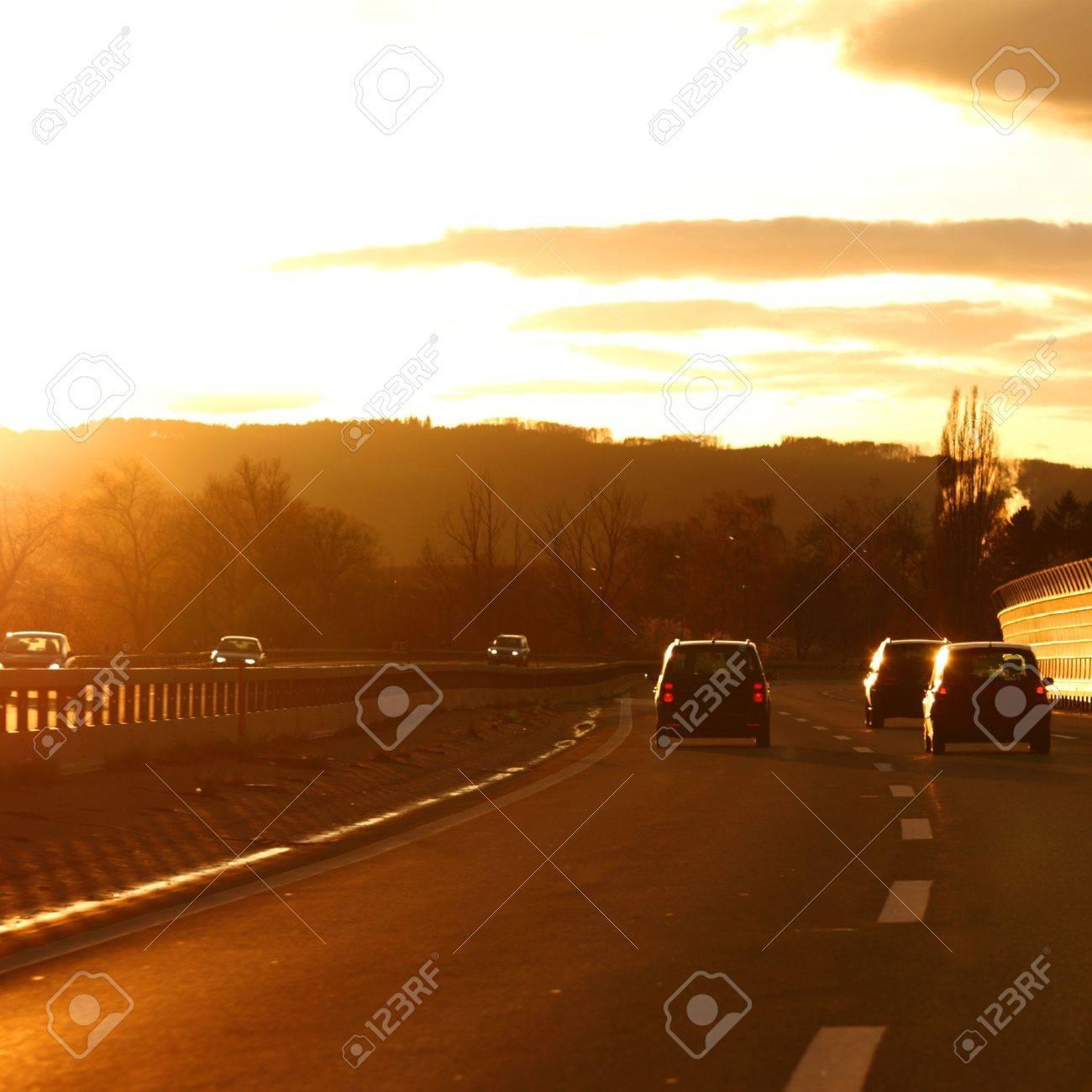 sunrise drive on car Stock Photo - 8744302