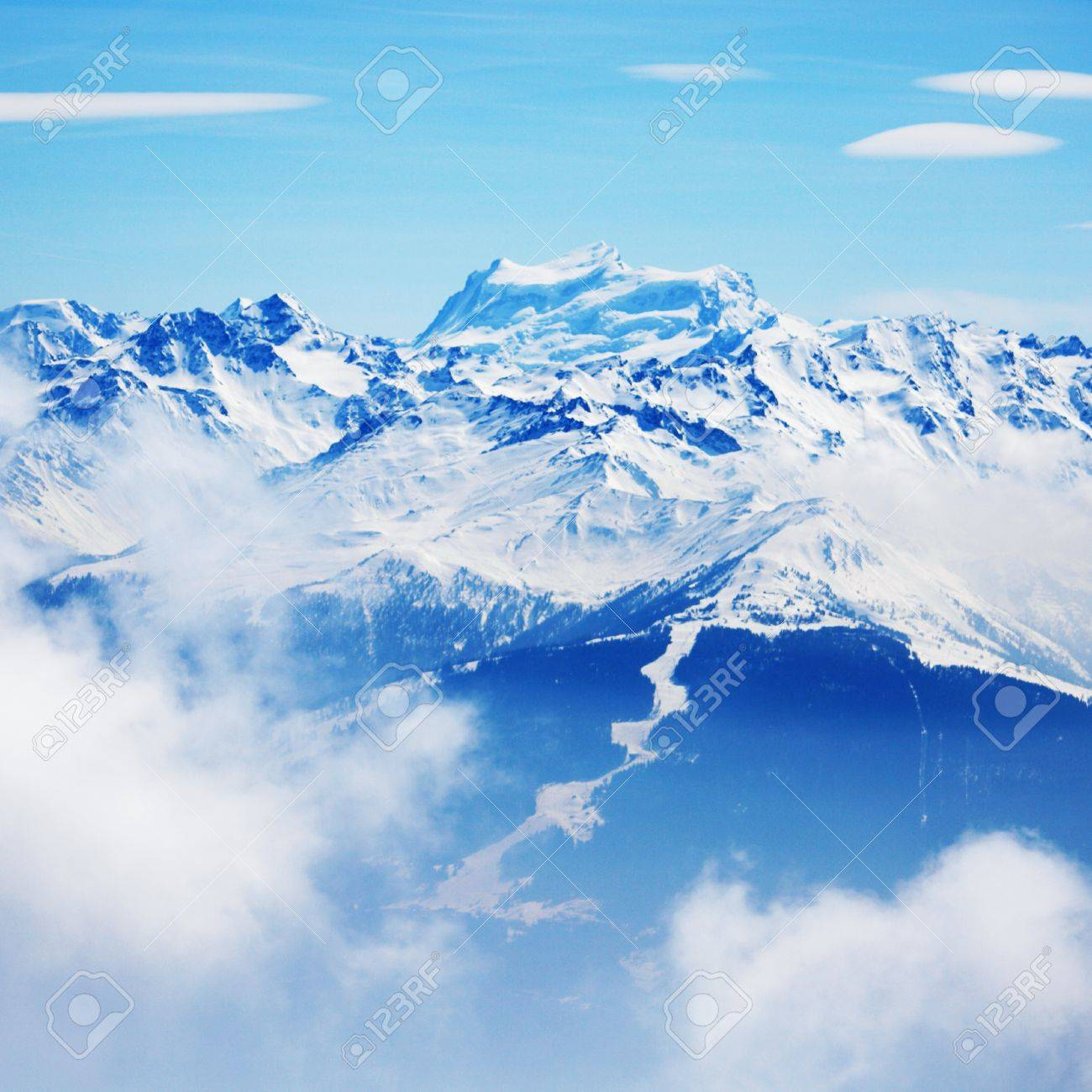 top of mountains in blue sky Stock Photo - 8745979