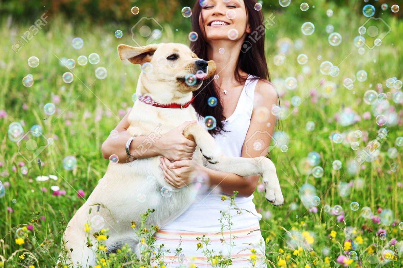 woman and she lablador dog in green grass Stock Photo - 8825170