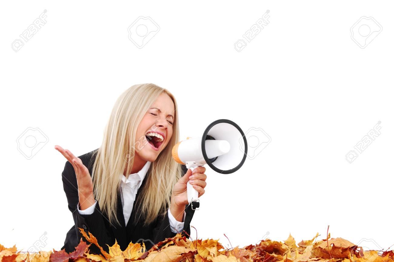 autumn businesswoman with megaphone studio isolated in studio Stock Photo - 9864938