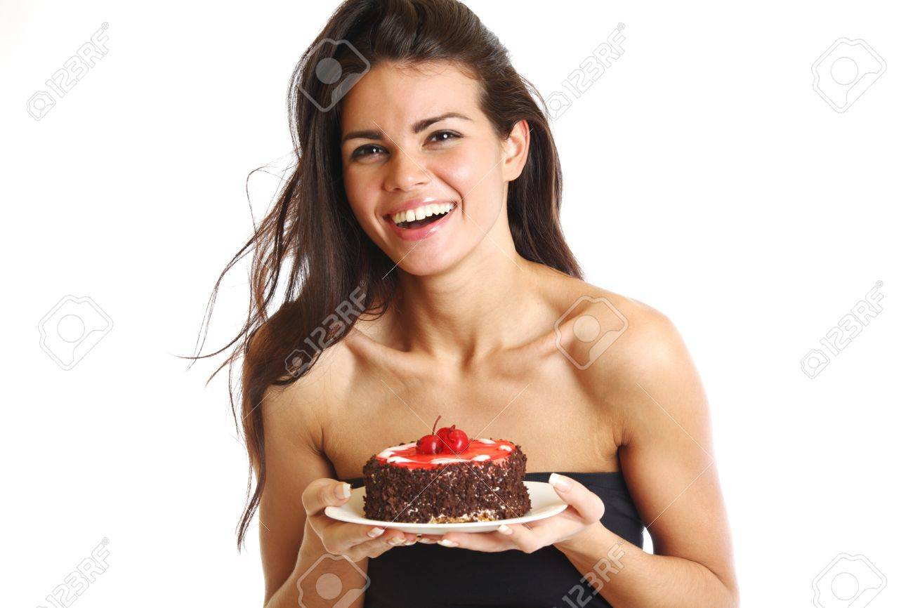 woman hold cake in hands isolated on white Stock Photo - 9909098