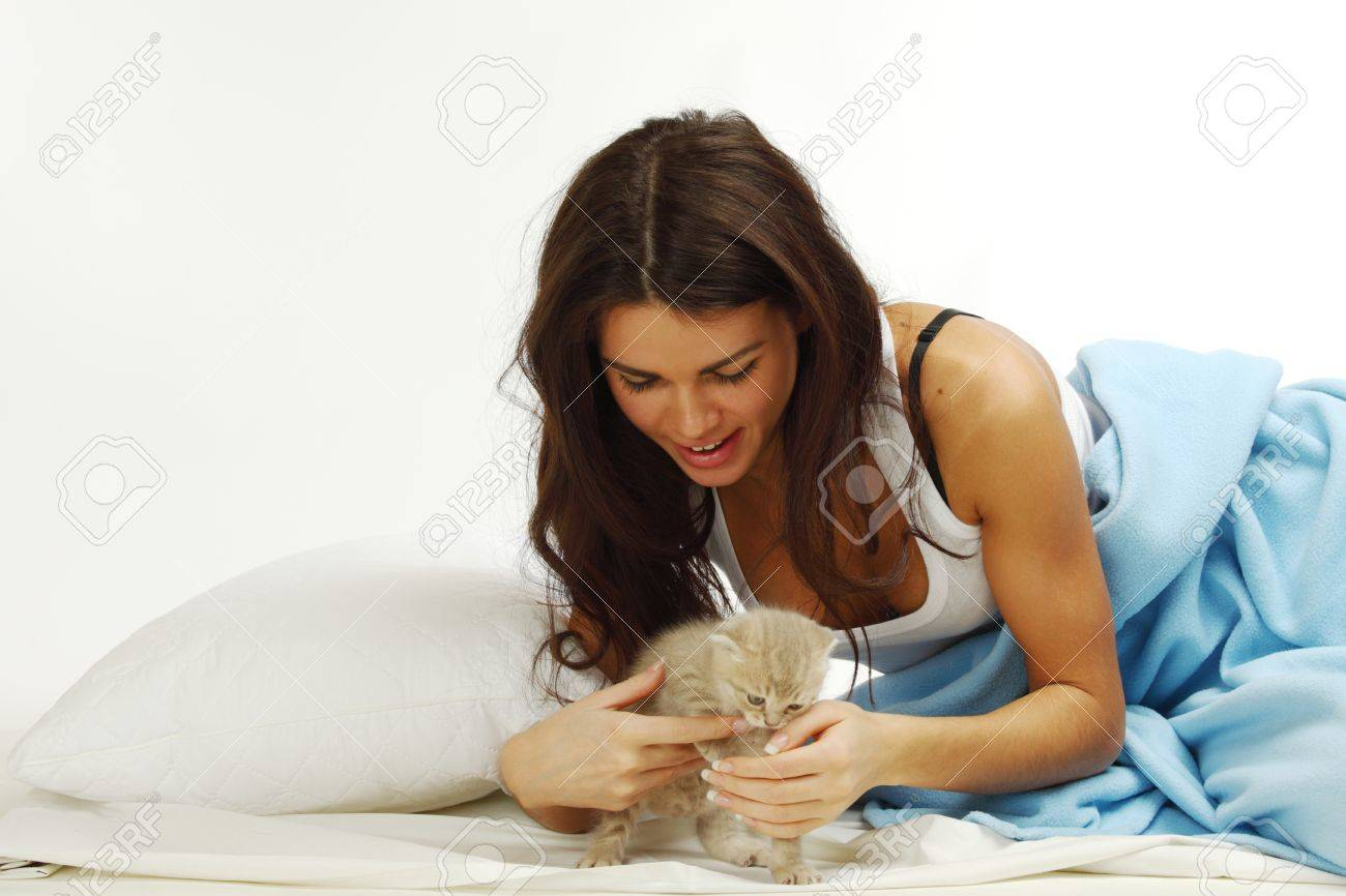 waking woman on the white pillow Stock Photo - 9908737