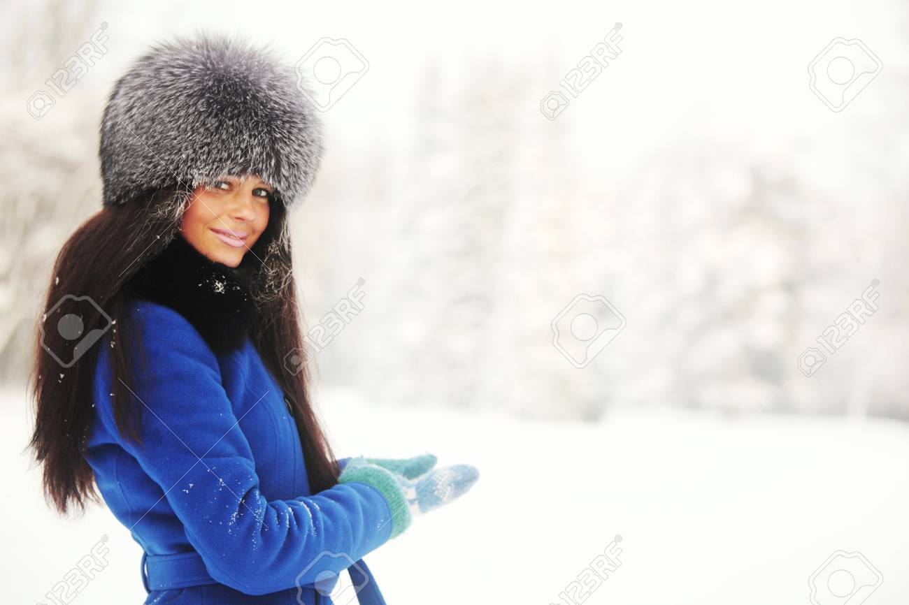 winter women close up portrait in frost forest Stock Photo - 10020293