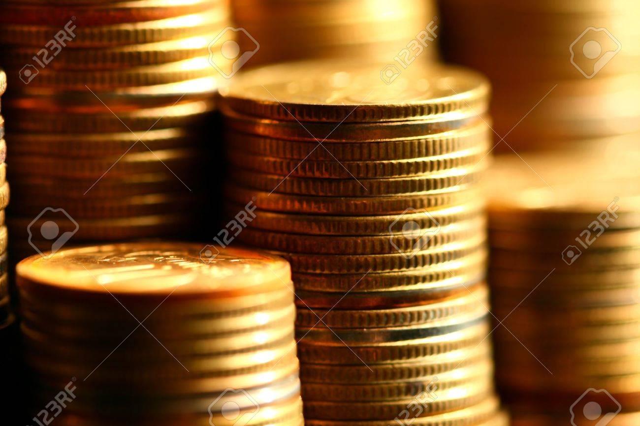 golden coins macro close up Stock Photo - 10136328