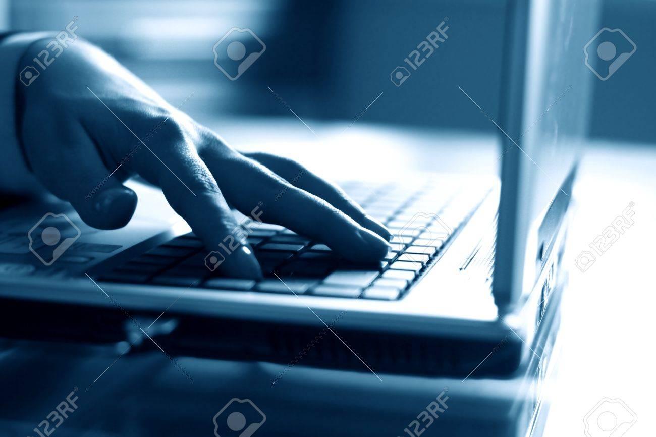 laptop work hand work background Stock Photo - 10136884