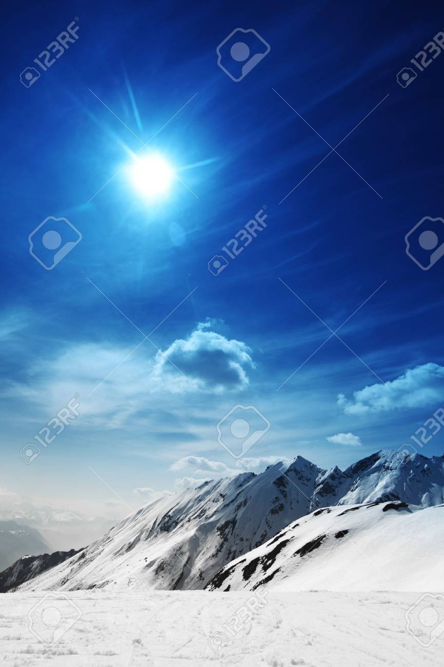 top of mountains in blue sky Stock Photo - 10170959