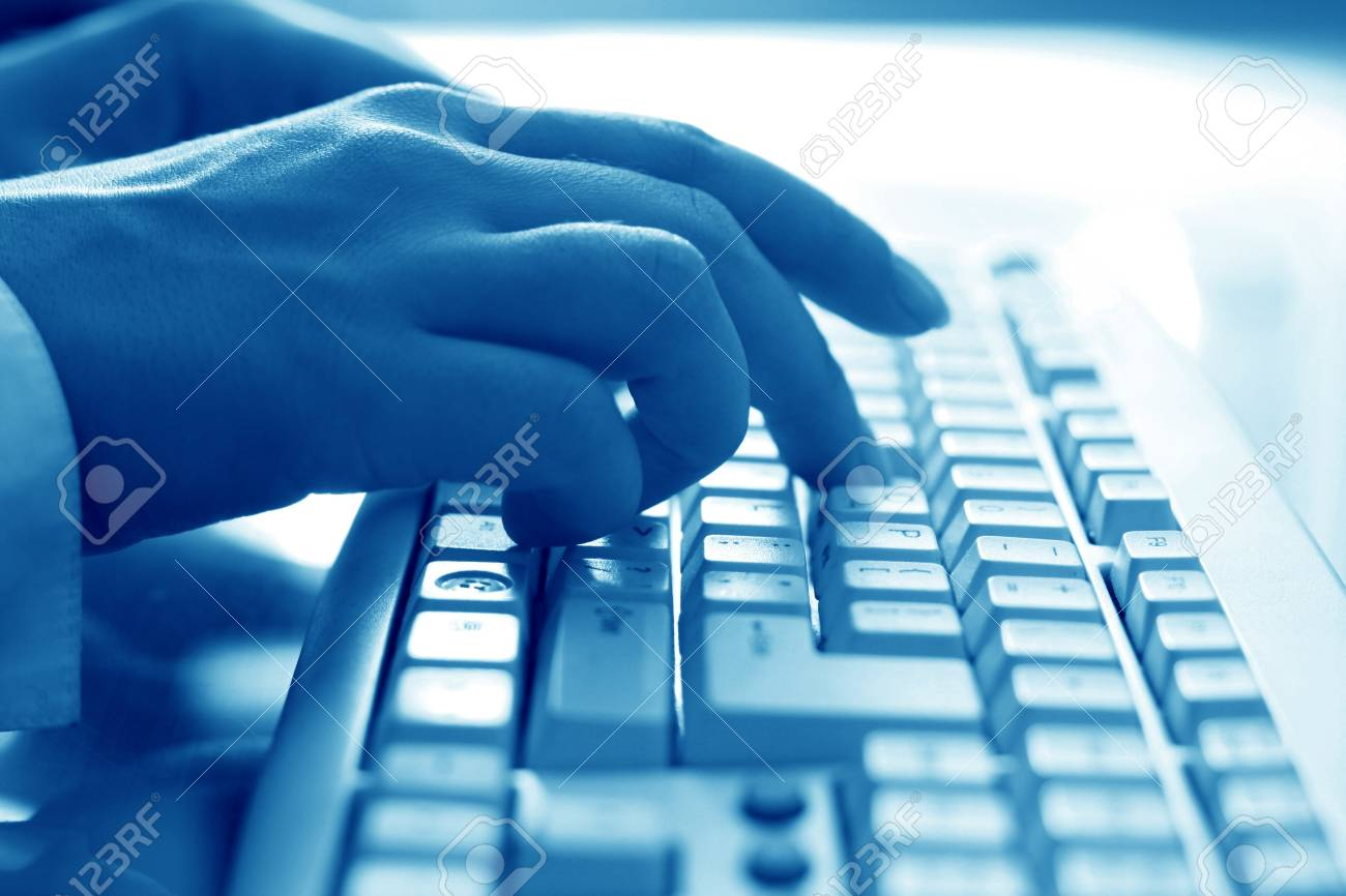 girl hands typing on keyboard macro close up Stock Photo - 10376121
