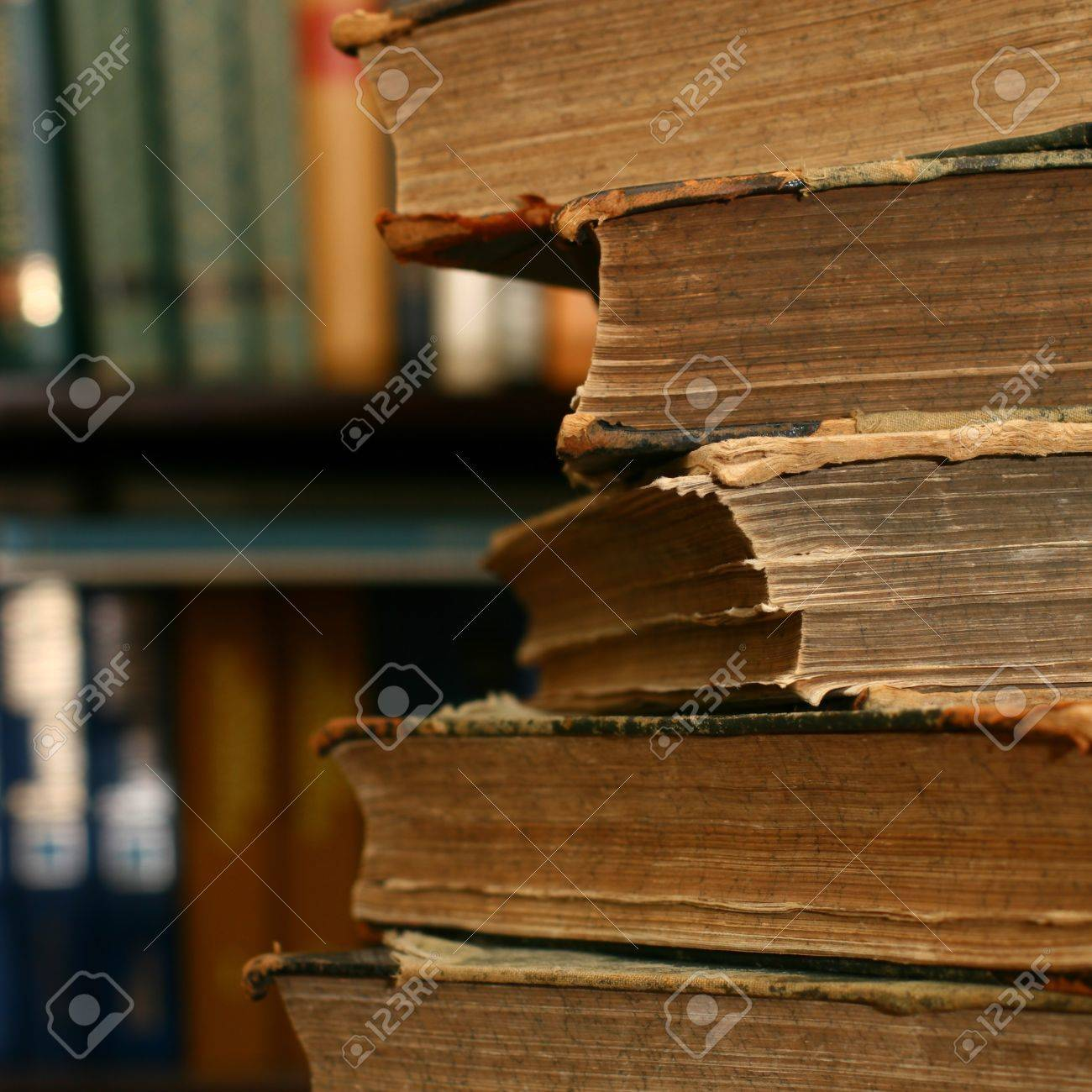books on table in dark library room Stock Photo - 10463420