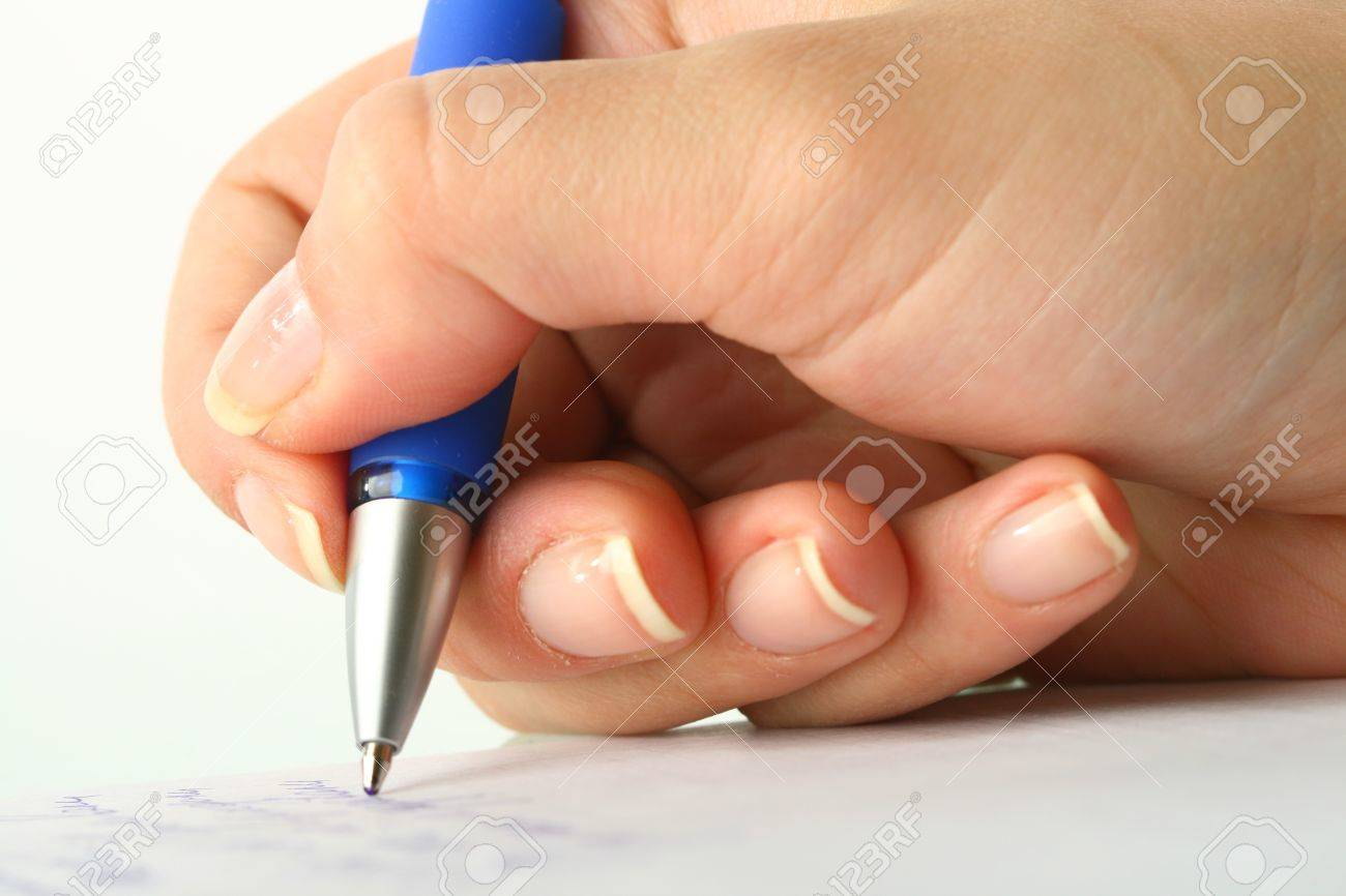 girl write on white paper close up Stock Photo - 10469598