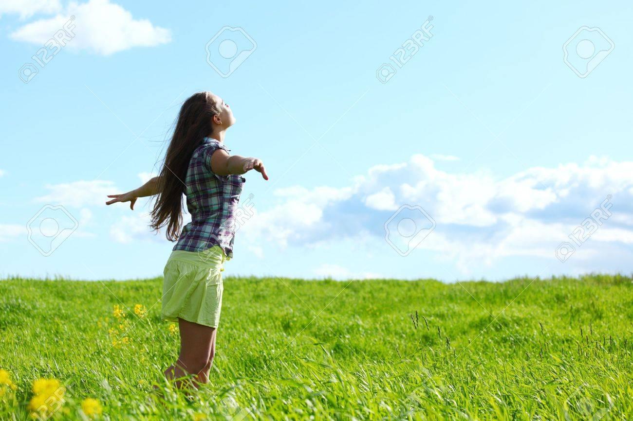 summer woman fly in blue sky - 10469889