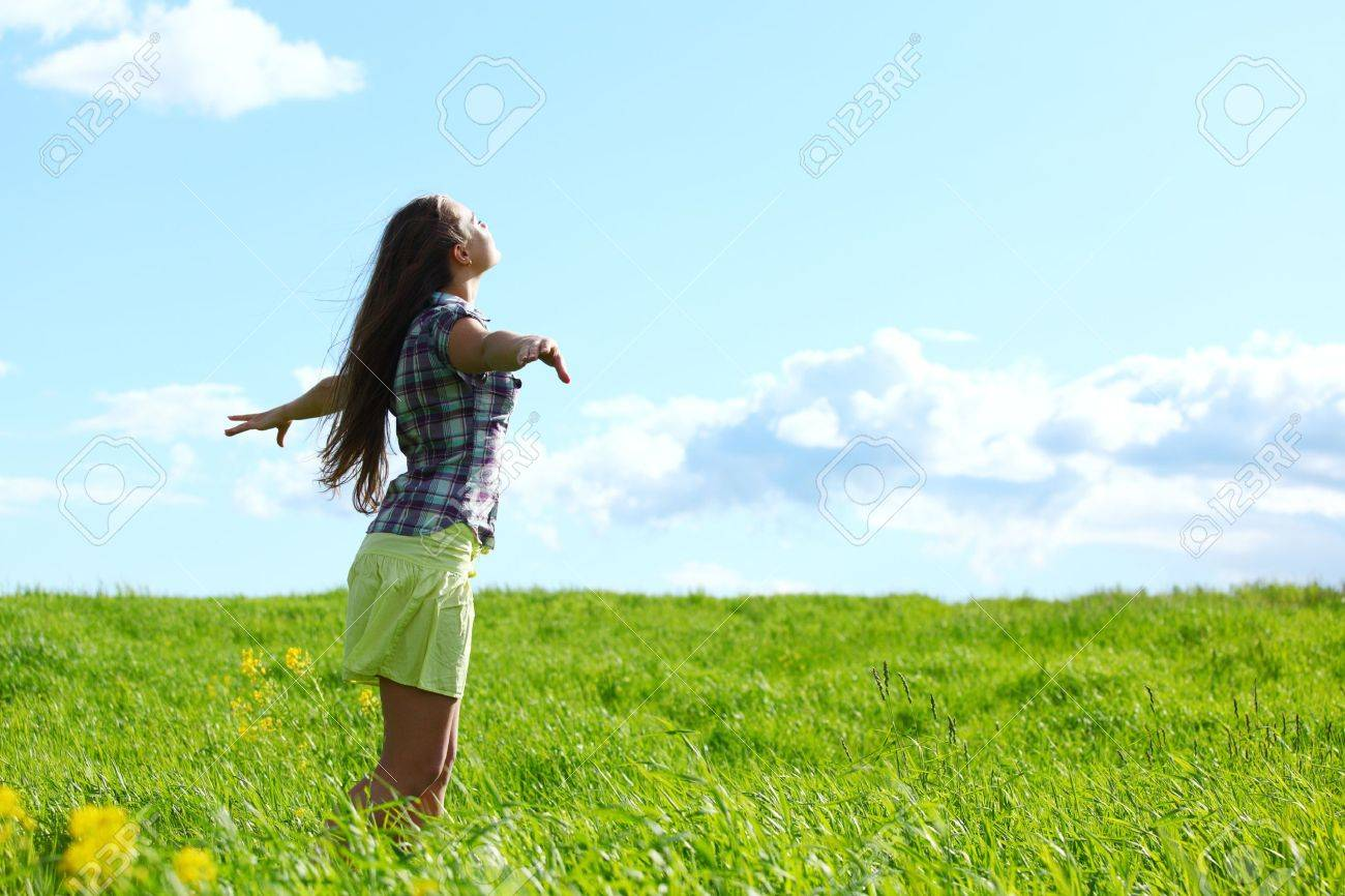 summer woman fly in blue sky Stock Photo - 10469889