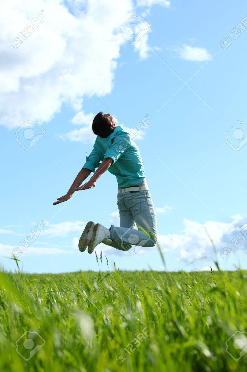 man jump in the blue sky Stock Photo - 10469858