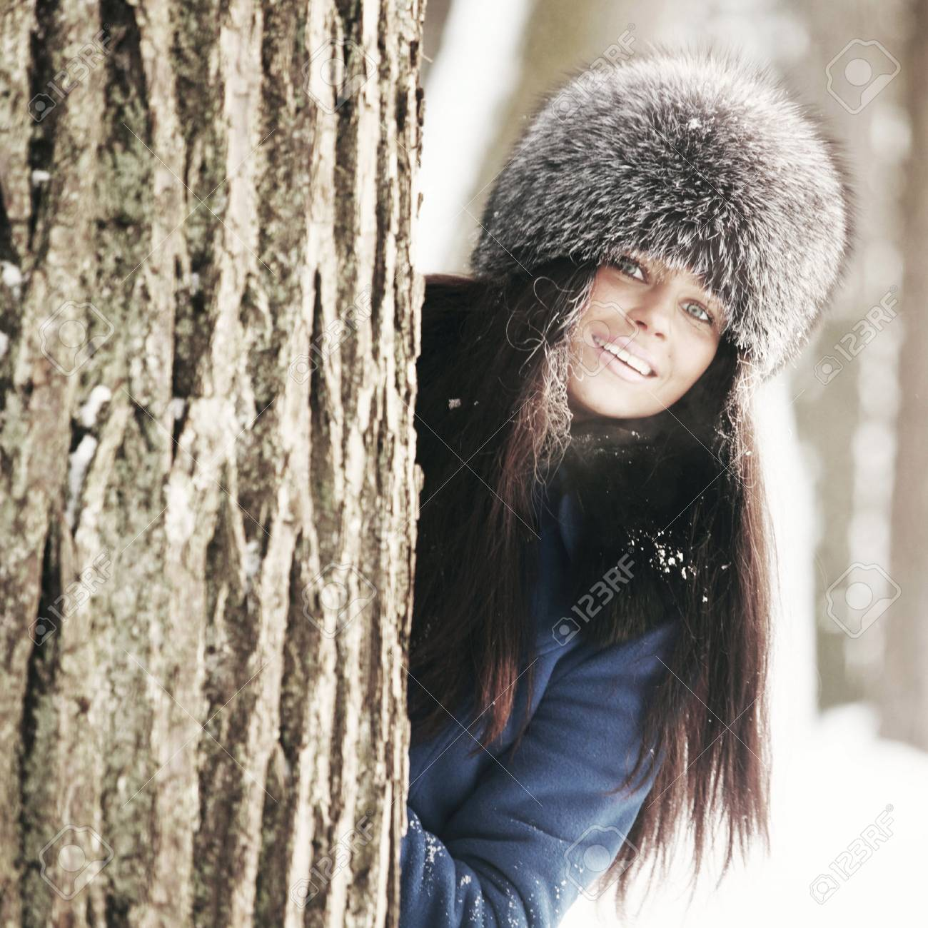 winter women close up portrait in frost forest Stock Photo - 10469810