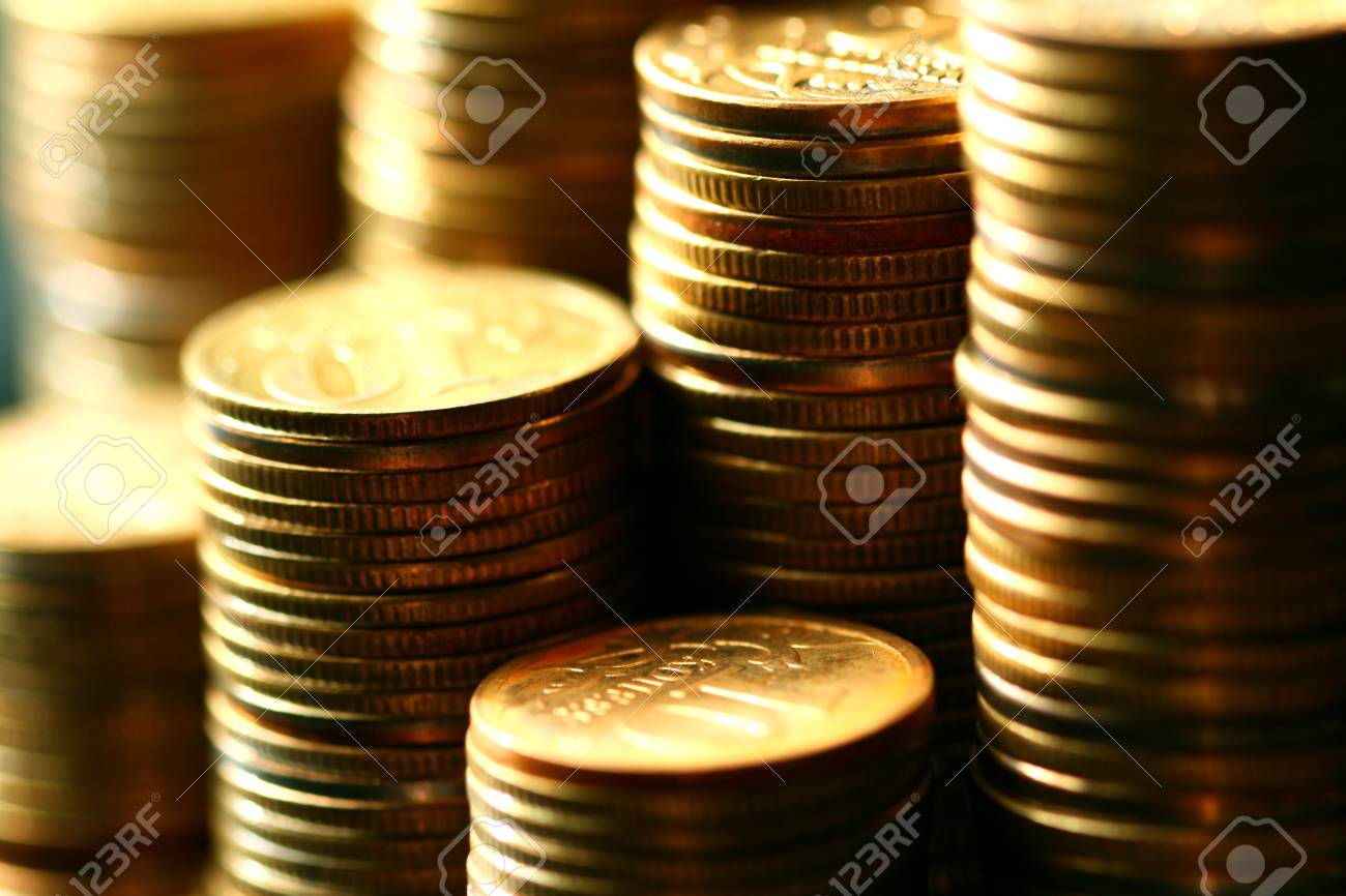 golden coins macro close up Stock Photo - 10504174