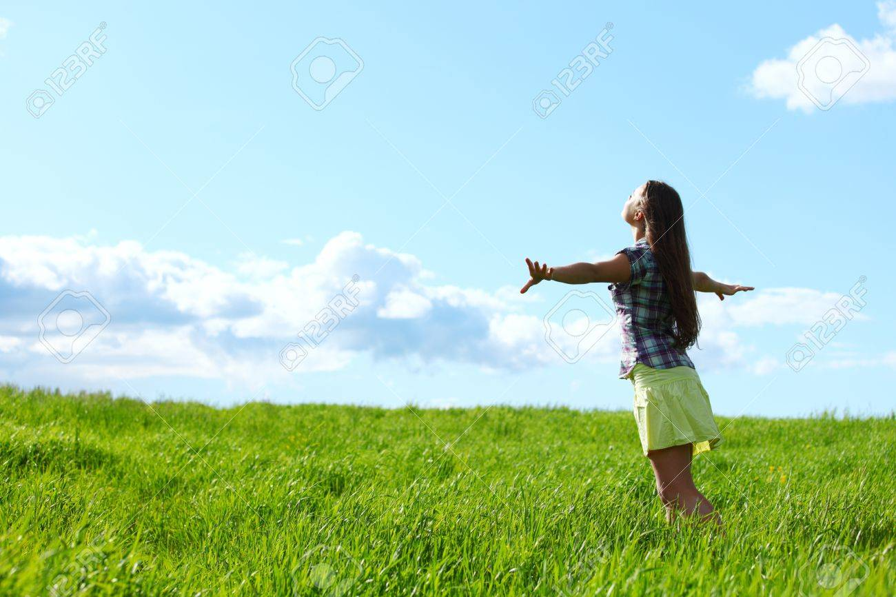 summer woman fly in blue sky Stock Photo - 10548211