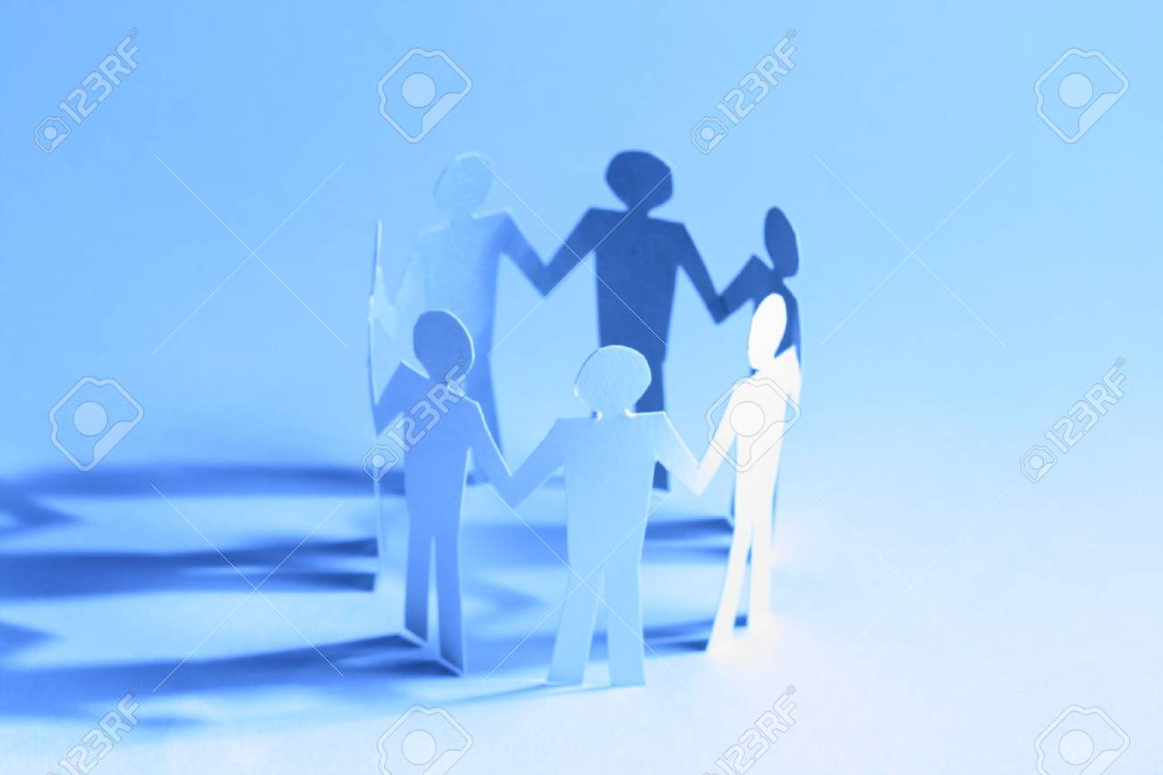 paper team linked together partnership concept Stock Photo - 10610973