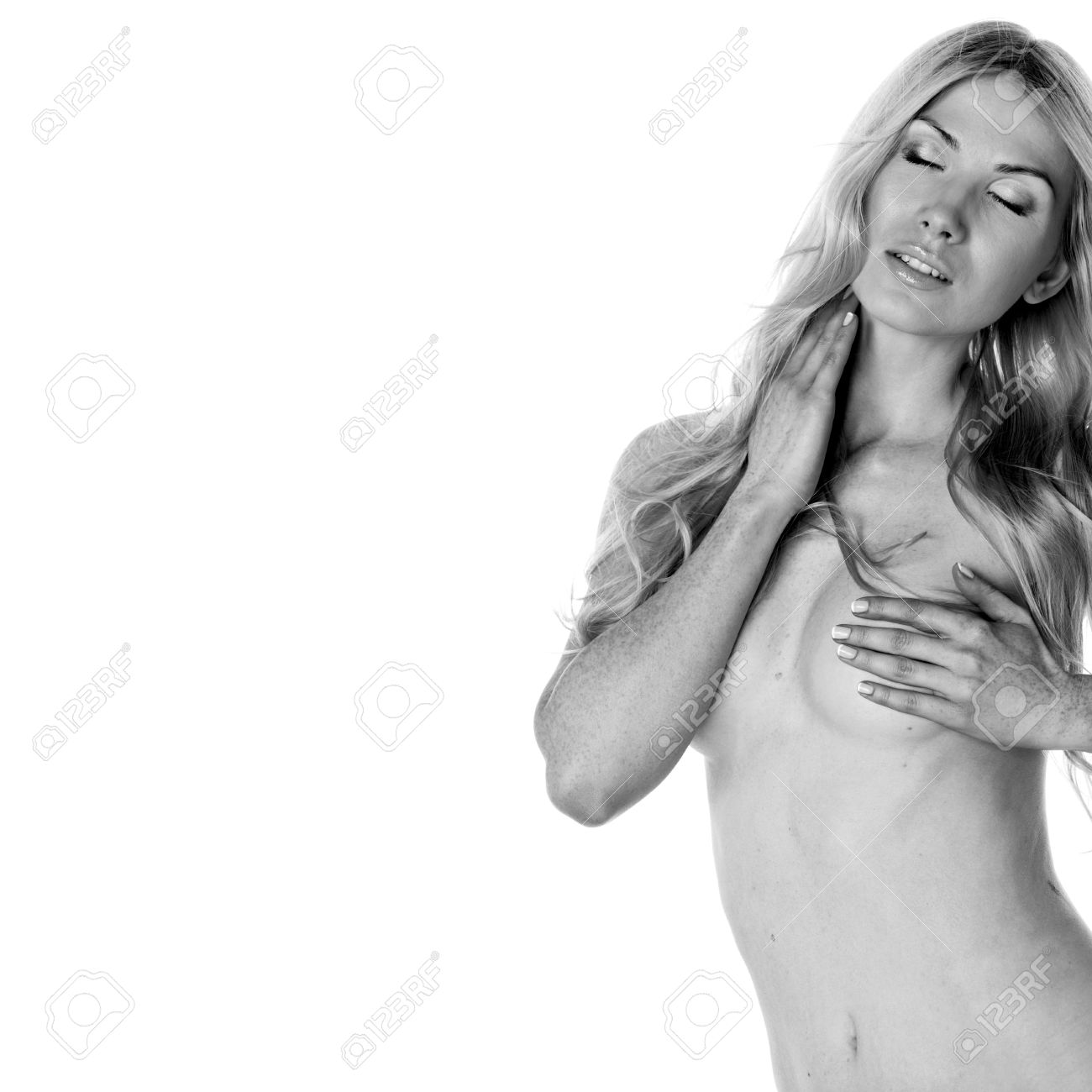 nude woman isolated on white BW portrait Stock Photo - 10705596