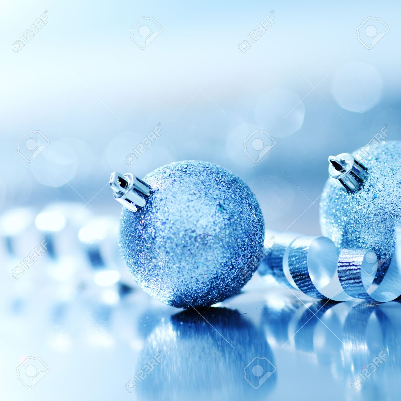 Blue Christmas Ball On Silver Background Stock Photo