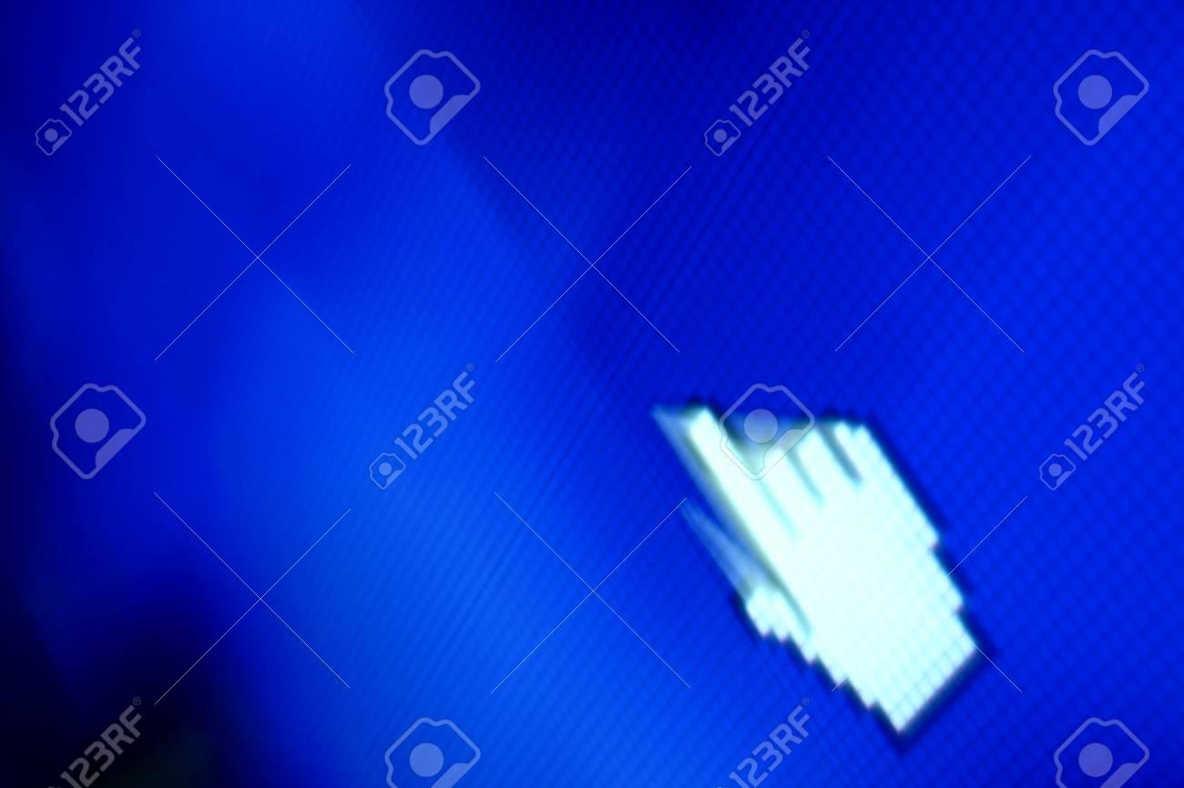 finger corsor on blue pixel screen Stock Photo - 11003295