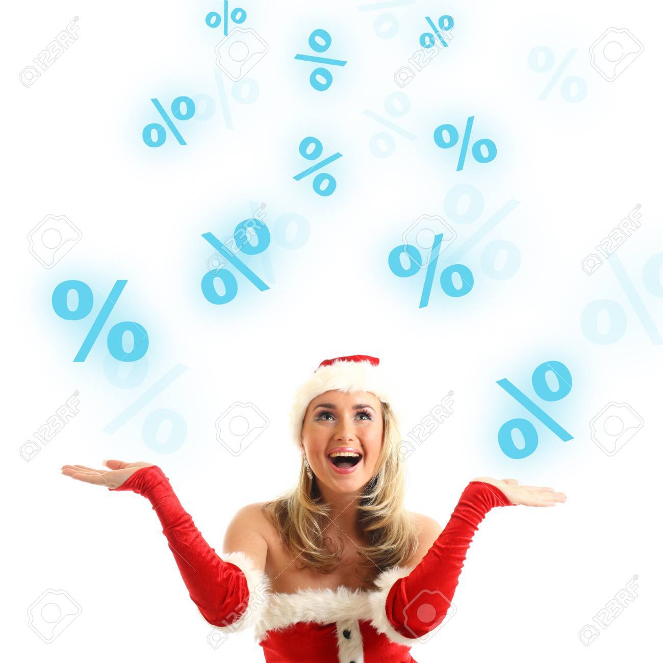 happy santa girl drop in air sale signs Stock Photo - 11072863