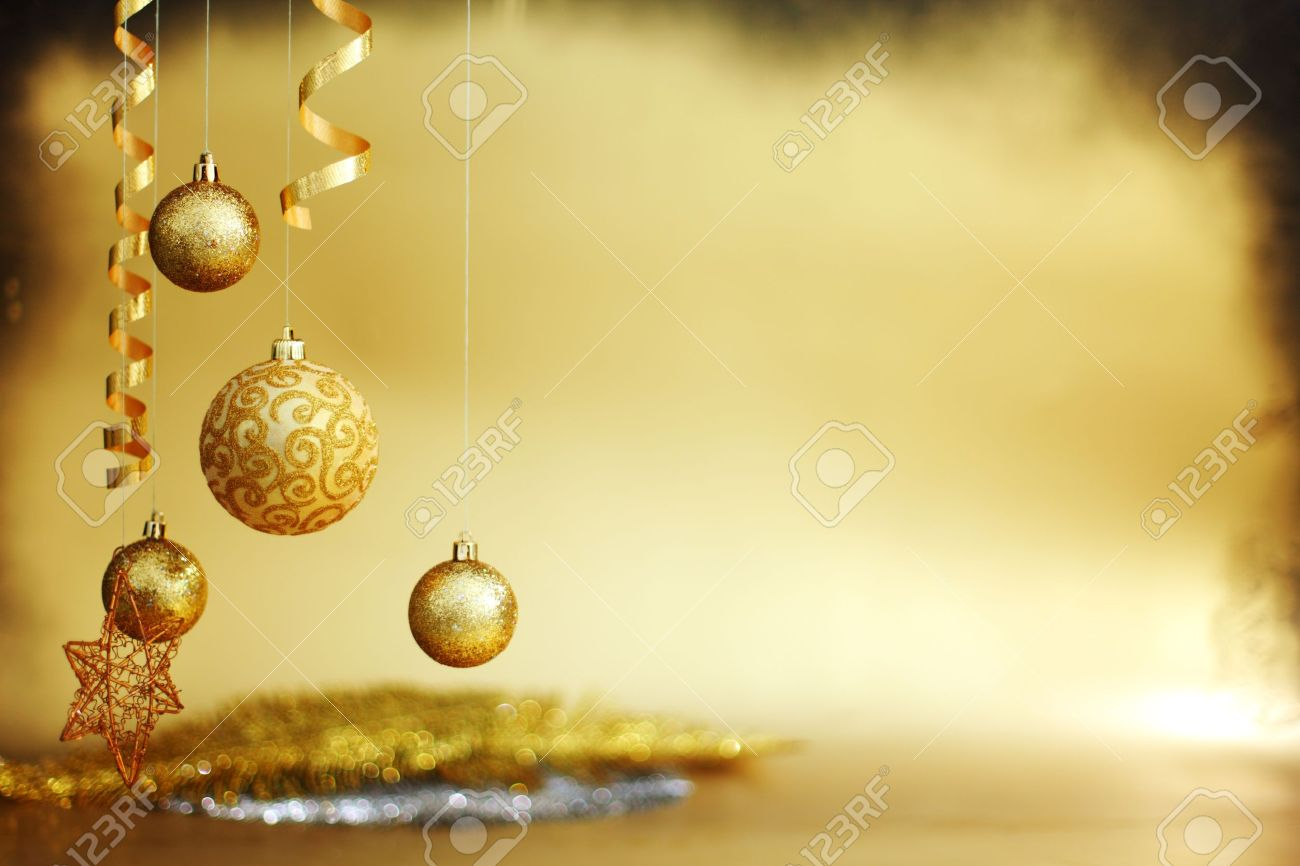 golden christmas balls on bokeh background stock photo, picture and