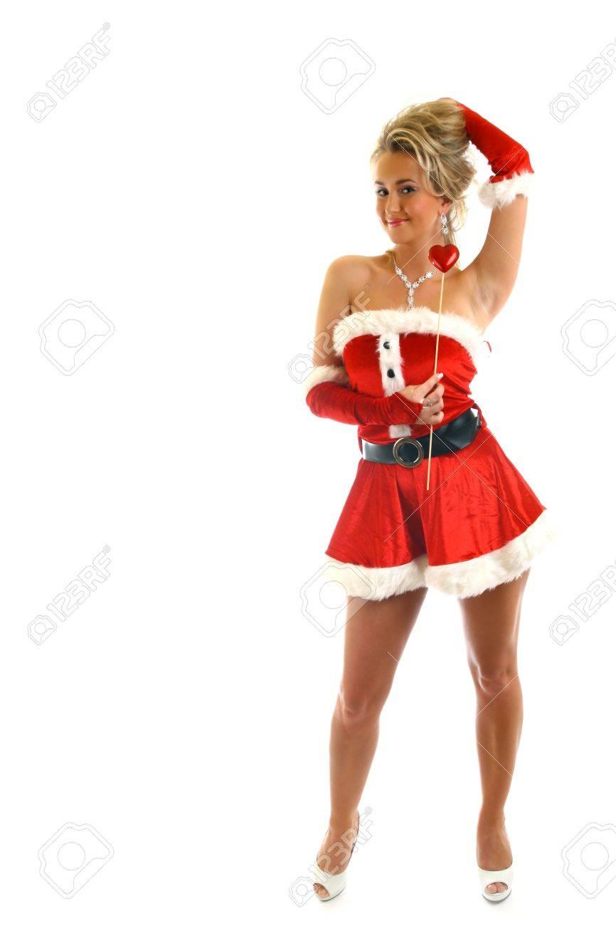 santa girl isolated on white background Stock Photo - 11124022