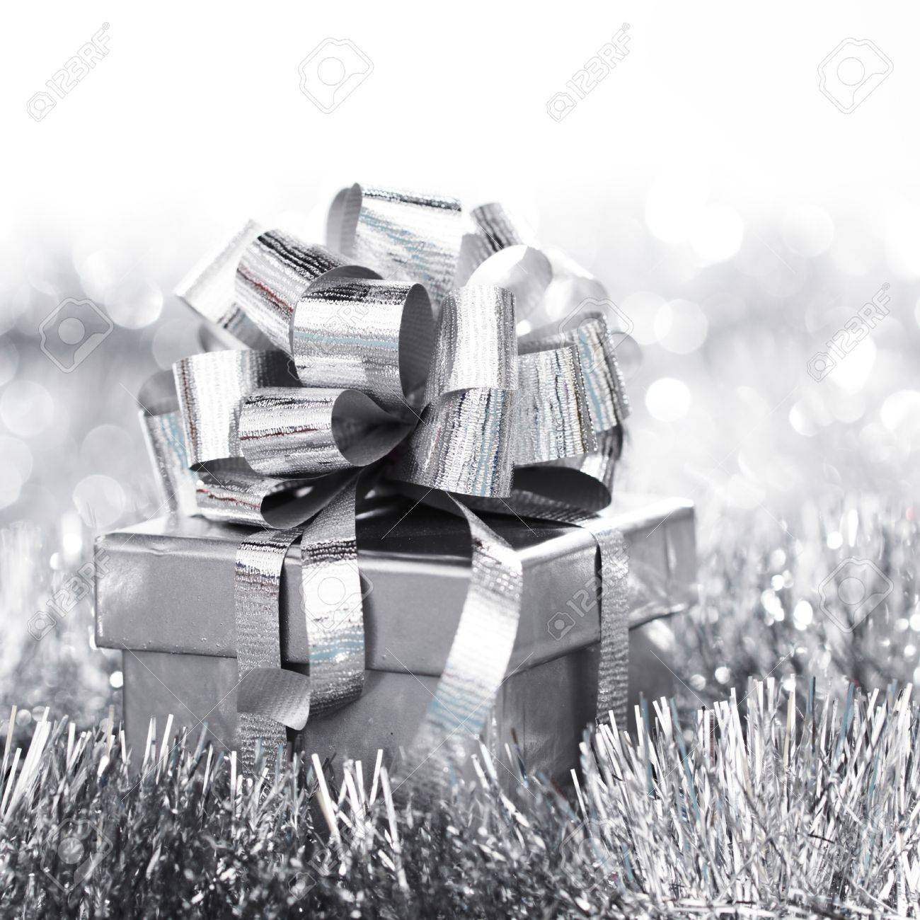 silver christmas card close up Stock Photo - 11138307