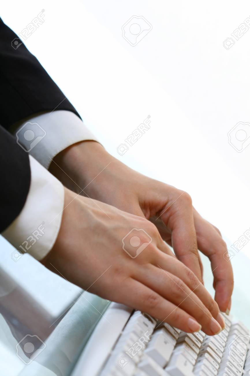 hands work on keyboard white background Stock Photo - 11148906