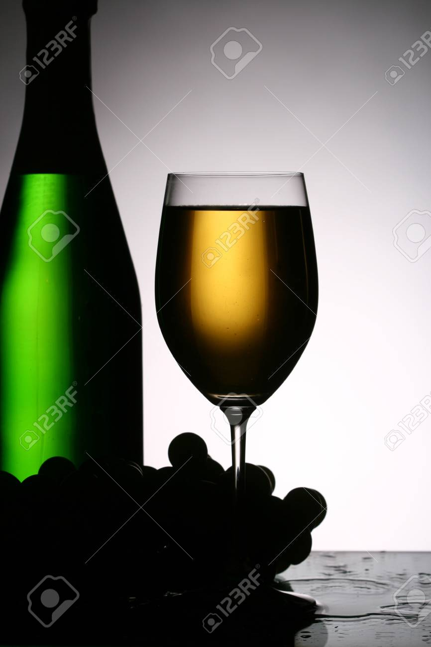 champagne grape and green bottle Stock Photo - 11213195