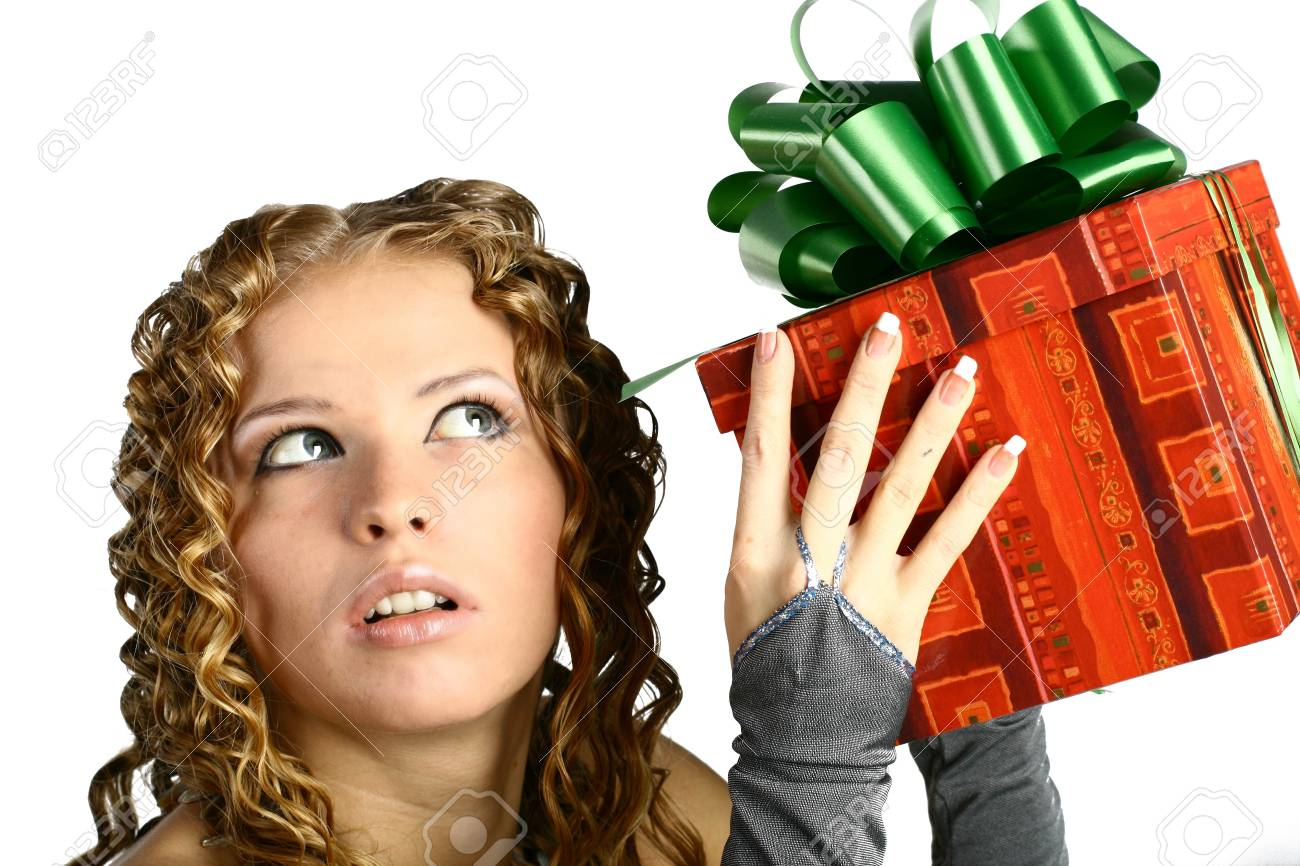 The girl with a gift in cheerfully box smiles new year Stock Photo - 11212758