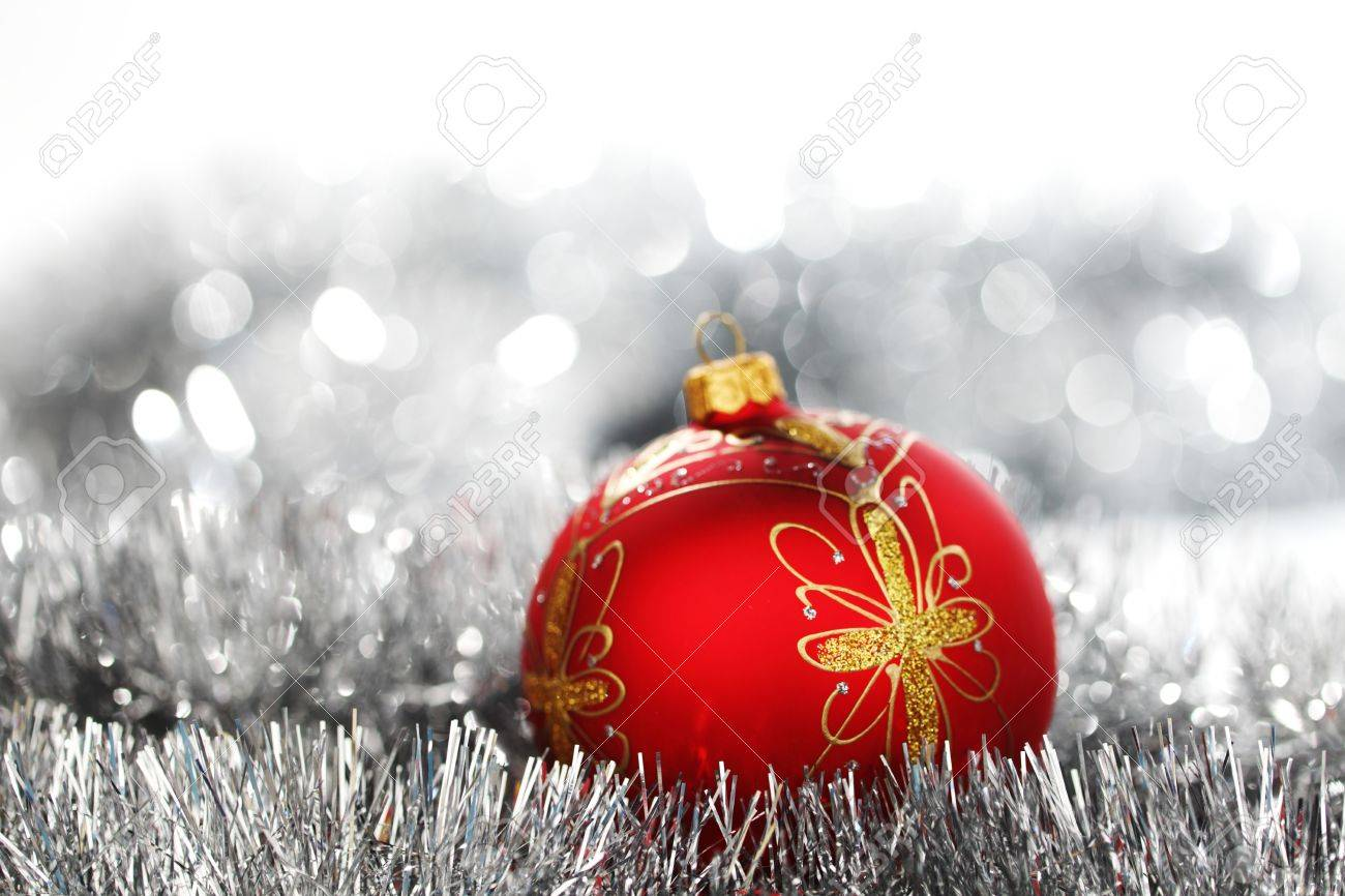 red christmas ball on holiday background Stock Photo - 11211182