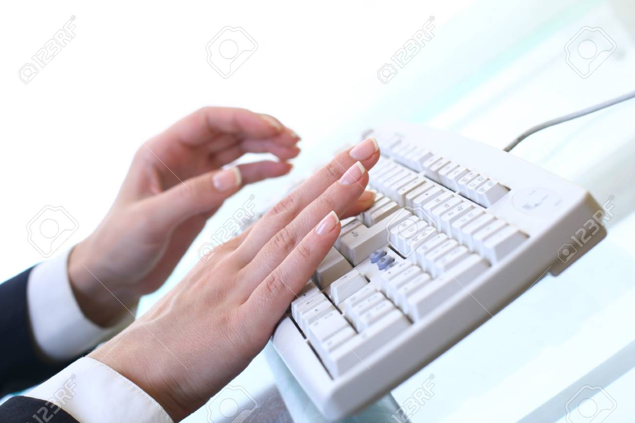 hands work on keyboard white background Stock Photo - 11262805