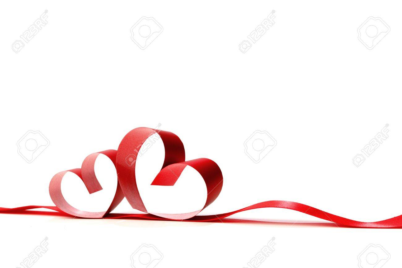 Clip Art Line Of Hearts : Ribbons shaped as hearts on white valentines day concept stock