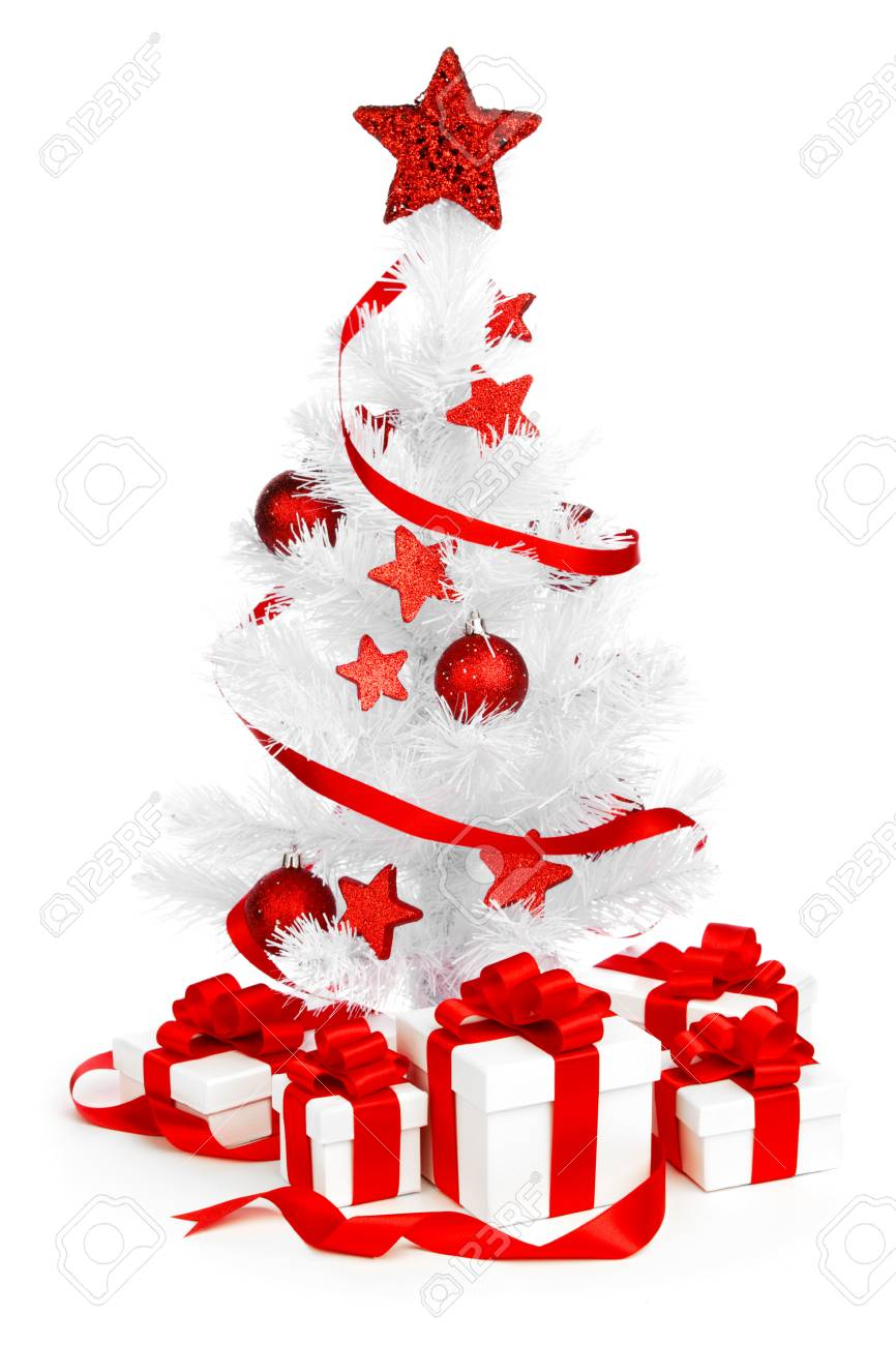 stock photo white christmas tree with red decorations and presents isolated on white background - White Christmas Tree With Red Decorations