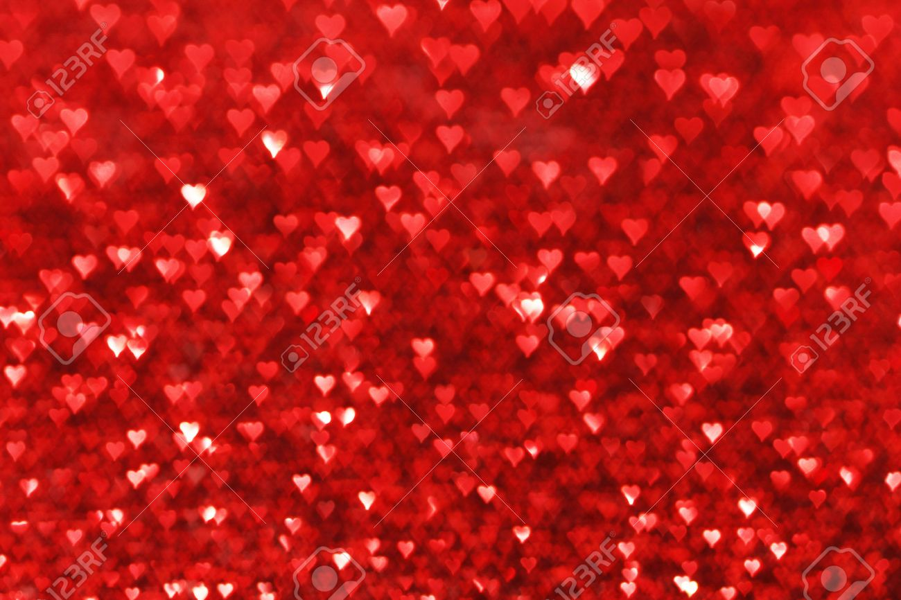 Red Hearts Bokeh Valentines Day Love Background Stock Photo Picture